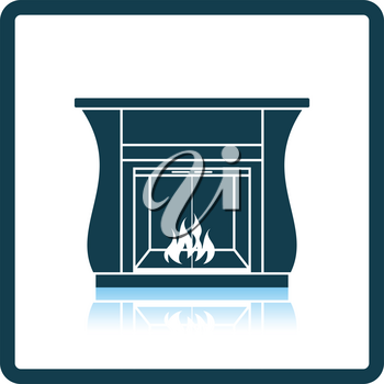 Fireplace with doors icon. Shadow reflection design. Vector illustration.