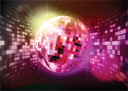 Royalty Free Clipart Image of a Disco Ball Background