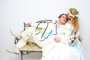 Royalty Free Photo of a Couple Posing on Their Wedding Day