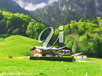 Royalty Free Photo of Houses in the Alps