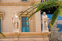 LAS VEGAS, NEVADA, USA - OCTOBER 21, 2013 : Statues on the facade of Paris Hotel in Las Vegas.  Opened in 1999 and demonstrates the sights of Paris