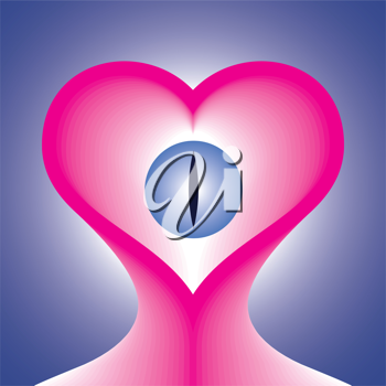 Royalty Free Clipart Image of a Pink Heart with Eye Over Blue Background