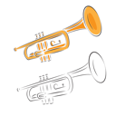 Royalty Free Clipart Image of a Trumpet Set on White Background