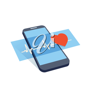 mobile device with heart pulse and heart symbol vector illustration