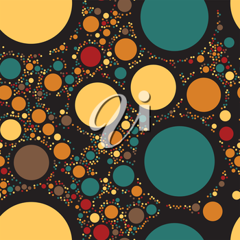 Circles seamless pattern. Color dots abstract background. Vector illustration. Rounds decoration backdrop.