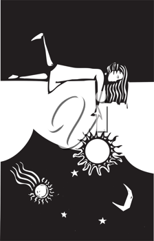 Royalty Free Clipart Image of a Girl Playing With the Sun