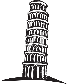 Royalty Free Clipart Image of The Leaning Tower of Pisa Italy