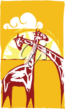 Royalty Free Clipart Image of a Pair of Giraffes