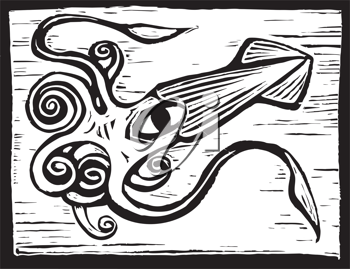 Royalty Free Clipart Image of a Giant Squid