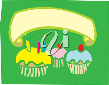 Royalty Free Clipart Image of a Birthday Cupcake Banner