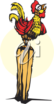 Royalty Free Clipart Image of a Rooster on a Post