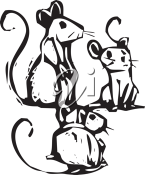 Royalty Free Clipart Image of Three Mice