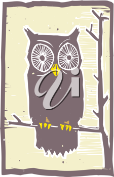 Royalty Free Clipart Image of an Owl Sitting in a Tree