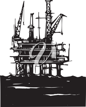 Royalty Free Clipart Image of an Offshore Oil Rig