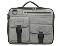 Laptop bag of grey fabric on a white background