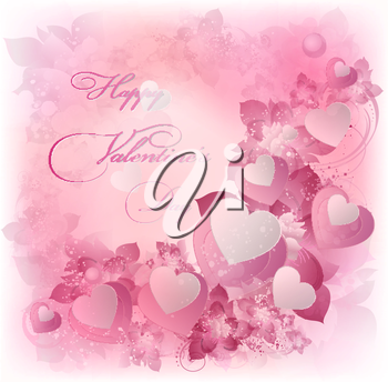 Valentine's Background With Design Hearts And Text