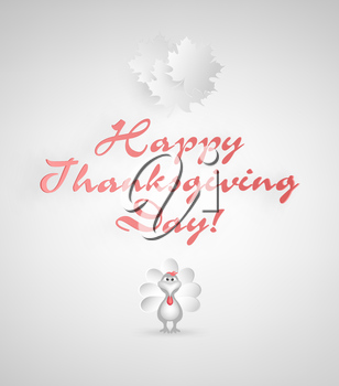 Thanksgiving Day Background With Maple Leafs, Turkey And Title Inscription