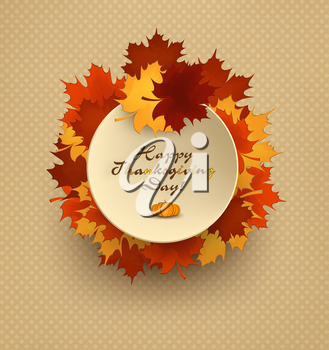 Thanksgiving Day Background With Turkey, Leafs And Title Inscription