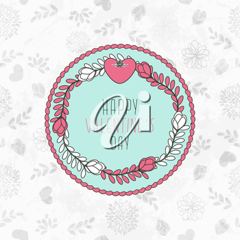 Valentine's Card With Seamless Pattern With Hearts, Flowers And Leaves