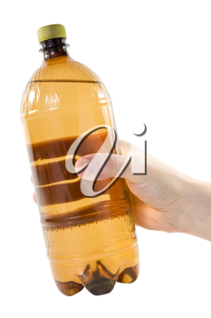 Royalty Free Photo of a Person Holding a Plastic Bottle