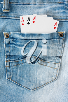 Royalty Free Photo of Playing Cards in a Pocket
