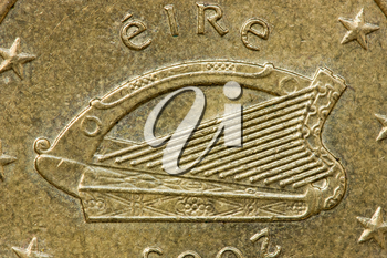 Irish 50 Euro Cent Coin Obverse Showing the Celtic Harp of Ireland, with the word Erie