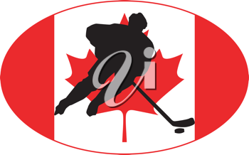 hockey player on background of flag of Canada
