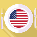 plate in flat style with flag of United States