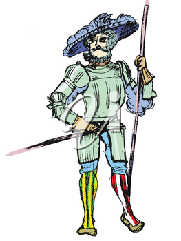 Knight, historical character. Motives of history, middle ages, fairytales. Vector illustration