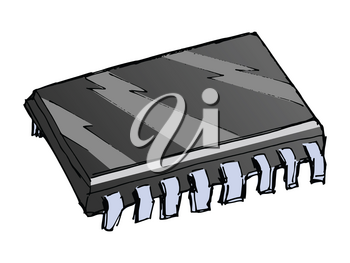 Hand drawn, vector illustration of microchip. Motives of electronics, computer technics and repair