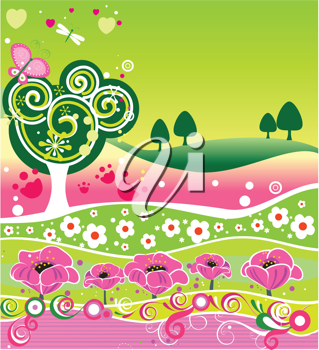 Royalty Free Clipart Image of a Decorative Summer Background