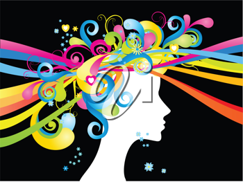 Royalty Free Clipart Image of a Female Silhouette With Swirly Hair