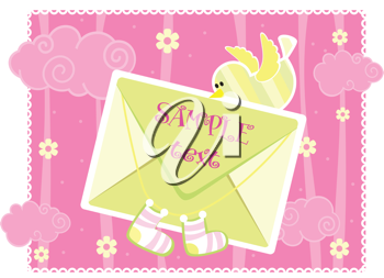 Royalty Free Clipart Image of a Baby Arrival Announcement Card