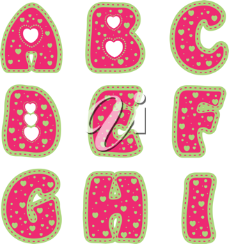 Royalty Free Clipart Image of Heart Letters