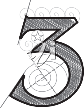 Royalty Free Clipart Image of a Decorative Number