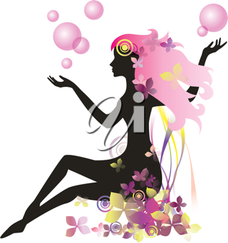 Royalty Free Clipart Image Of A Floral Female Silhouette 526114