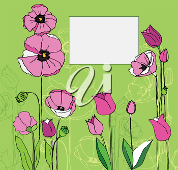 Beautiful greeting card with flowers. Vector illustration