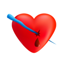 Royalty Free Clipart Image of a Pierced Heart
