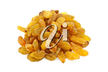 Lots of yellow raisins isolated on white background