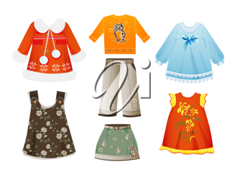 Royalty Free Clipart Image of a Set of Seasonal Clothes