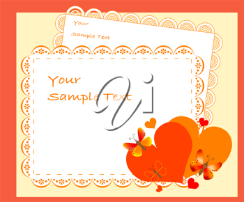 Royalty Free Clipart Image of a Frame With Hearts