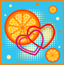 Royalty Free Clipart Image of an Abstract Citrus Background