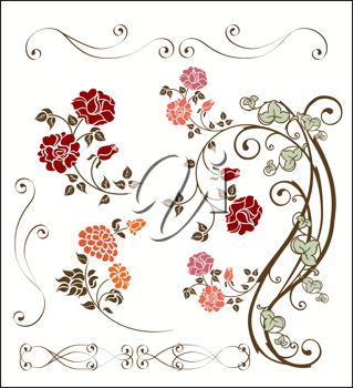 Royalty Free Clipart Image of a Set of Roses