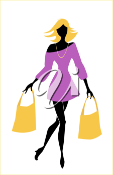 Royalty Free Clipart Image of a Woman Carrying Bags