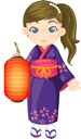 Royalty Free Clipart Image of a Girl in a Japanese Kimono