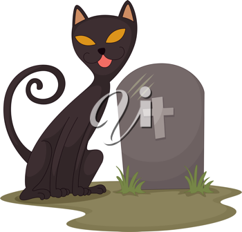 Royalty Free Clipart Image of a Cat and a Tombstone