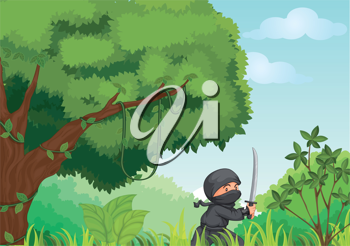 Illustration of a ninja in a forest
