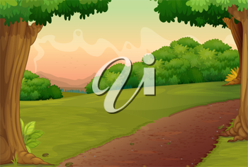 Illustration of a path in a rural setting