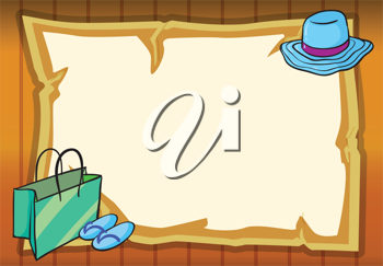 illustration of a hat, a bag and  a shoes in yellow background