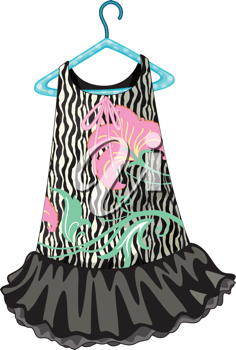 illustration of black dress on white